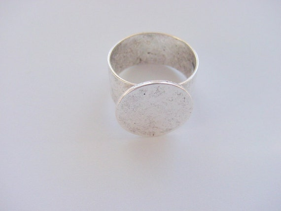 2  Ring Blanks Silver Plated Adjustable Flat Top 16mm Circle (No. ND 136)