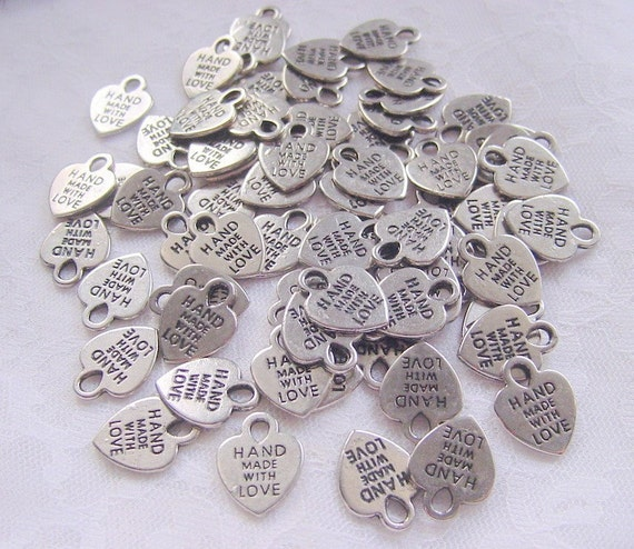 Silver Tag Charms  Hand Made With Love 490  Pieces RESERVE for Bailey
