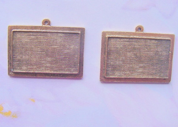 2 Pendant Blanks Raised Rectangle  Antique Gold Plated Pewter  (No. ND196)