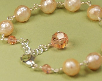 Faceted Peach Pearl Bracelet, Faceted Pearl Bracelet, Mother of Bride Gift, Mother Gift, OOAK Pearl Bracelet in Sterling Silver for Weddings