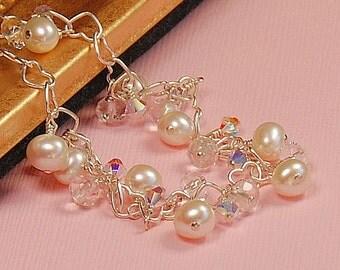 Pearl Bridal Bracelet, Sterling Silver, Delicate Bracelet, Crystal Quartz, Freshwater Pearls, & Swarovski Crystals, The Open Heart Bracelet