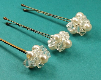 Crystal and Pearl Bobby Pins, Swarovski Clear Crystals and Ivory Pearls on Bronze Pins, Set of 3