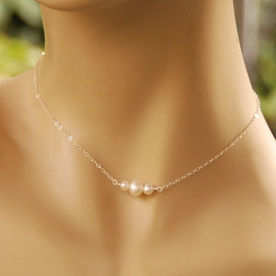 Fairy Flower Girl Necklace - Freshwater Pearls in Sterling Silver