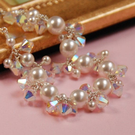 Shimmery Pearl Wedding Bracelet - Swarovski Pearls and Crystals in Sterling Silver for Brides or Bridesmaids