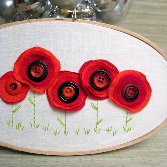 Red Poppies Embroidery Wall Hanging (NUE112911-5R)