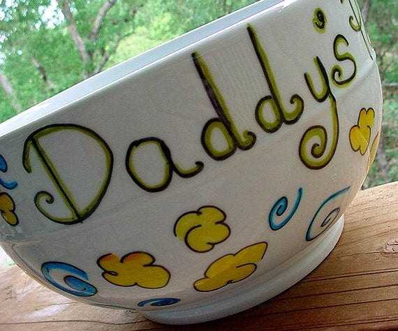 Family sized popcorn bowl personalized with name fathers day