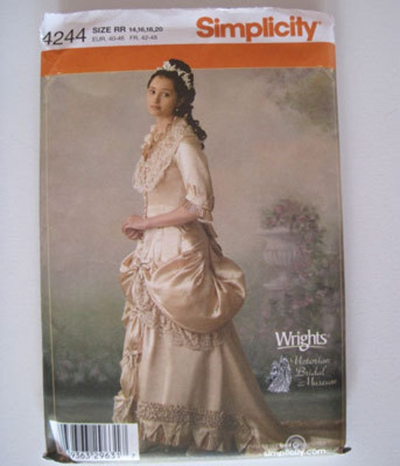 """Simplicity 4244 Victorian Bustle Bridal Gown Dress Costume Pattern - OOP - sizes 14-20 (36""""-42"""" bust)"""