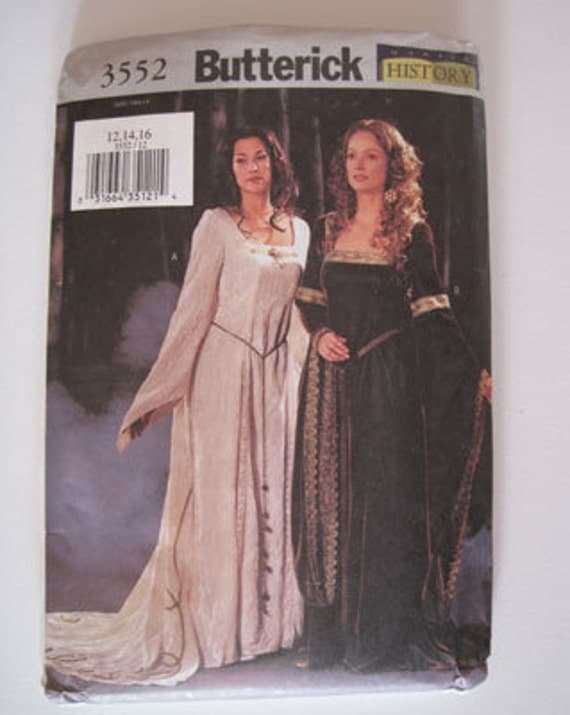 "Butterick 3552 Medieval Lord of the Rings LOTR pattern sizes 12-16 (34""-38"" bust), halloween costume"