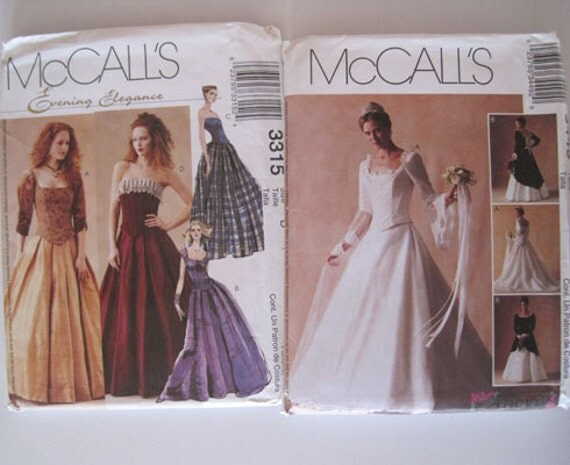 "Wedding Bridal Prom Elizabethan Dress Costume patterns McCall's 3449 McCall's 3315 sizes 12-16 (34""-38"" bust)"