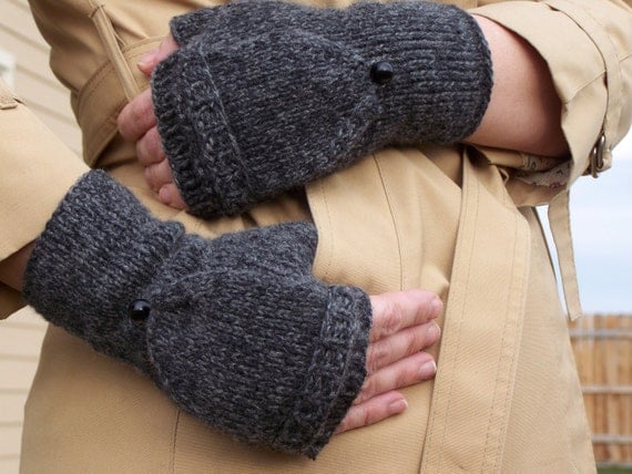 KNITTING PATTERN Fingerless Gloves flap gloves ruffle tie