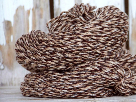 CASHMERE yarn signature collection   hand plied  color Wren brown cream