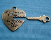 Antiqued Gold Key to My Heart Charm Sets (3 Sets)