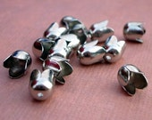 Small Bright Chrome Tulip Bead Caps 7x5mm (12pcs)