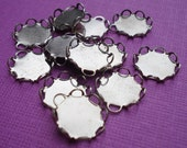 Small Silver Steel 9mm Scallop Lace Edge 1 Ring Round Settings for your Flat Back Jewels or Cabs (12 pcs)