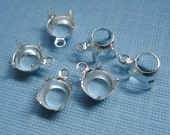 35ss/7.2-7.4mm Round Silver Plated Open Back 1 Ring/Loop Settings for Rhinestone Jewels (6 pcs)