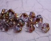 Czech 4x6mm Amethyst Crystal Copper Coated Baby Bell Flower Beads (25 pieces)