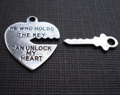 Antiqued Silver Brass Key to My Heart Charm Sets (3 Sets)