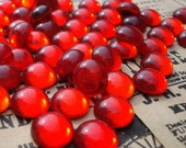 Vintage 9mm Ruby Red Gold Foiled Flat Back Round Glass Cabs or Stones (6 pieces)
