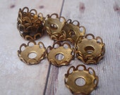 Vintage 7mm Small Round Brass Scallop Lace Edge Open Back Rivet Hole Settings for your Flat Back Jewels or Cabs (12)