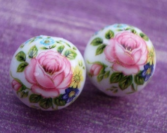 White 12mm Tensha Beads with Shades of Pink Cabbage Roses, Multi-Colored Flowers & Leaves (2 pieces)