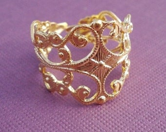 Gold Plated Brass Adjustable Filigree Vintage Reproduction Ring Shanks (2 pieces)