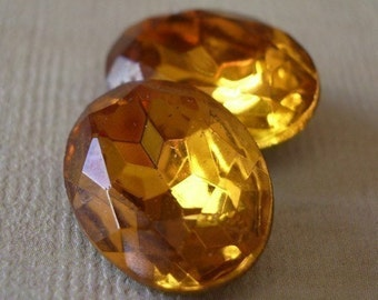 18 x 13 Vintage Topaz Gold Foiled Pointed Back Oval Faceted Glass Jewels 2pcs