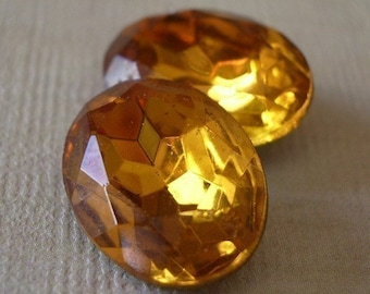 Vintage 18x13mm Topaz Gold Foiled Pointed Back Oval Faceted Glass Jewels (2 pieces)
