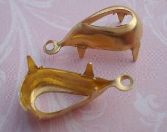 Brass 13 x 7mm Pear/Teardrop 1 Ring/Loop Open Back Settings (12 pieces)