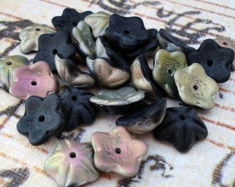 9mm Frosted/Matte Jet Black Fire Polished Czech Glass Bead Cap/Cup Flowers (25 pieces)