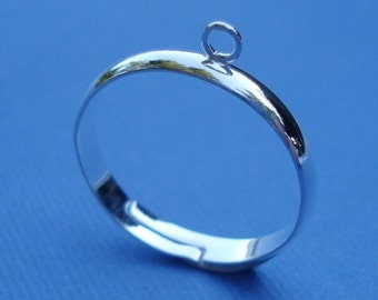 3mm Silver Plated Adjustable Plain Band Ring with 1 Loop for Dangling Beads or Charms (4 pieces)