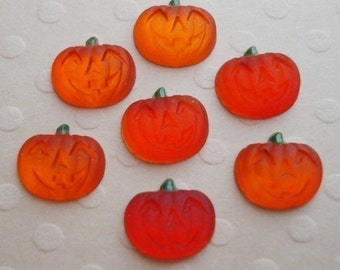 24 Tiny 7mm Orange Frosted Glass Silver Foiled Flat Back Pumpkin Cabochons
