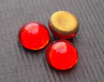 Vintage Tiny 5mm Siam Ruby Red Gold foiled Flat Back Round Glass Cabochons (12 pieces)