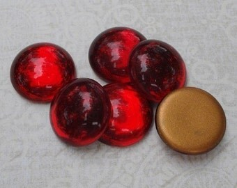 4 Vintage 18mm West Germany Ruby Red Gold Foiled Flat Back Round Glass Cabs