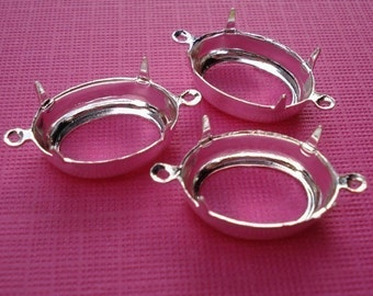 6 Silver Plated 18x13mm Open Back Oval 2 Ring Connector Settings for Rhinestone Jewels or Cabs