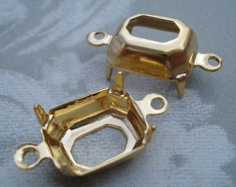 Gold Plated 10x8mm Octagon/Rectangle 2 Ring 4 Prongs Open Back Settings (6 pieces)