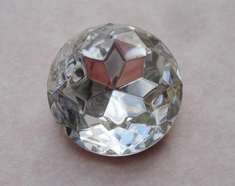 Large Vintage 20mm Czech Crystal Clear Gold Foiled Pointed Back Round Glass Jewel or Cab (1 piece)