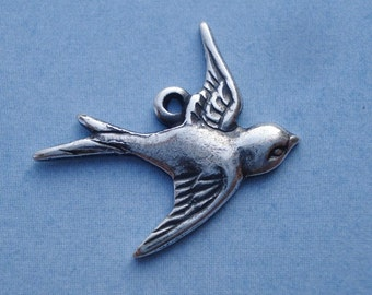 Tiny Antiqued Silver In Flight Bird Charms Facing Right 17x16mm (6 pieces)
