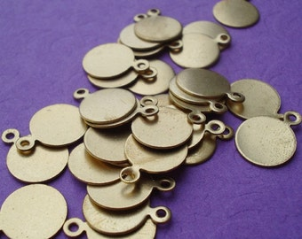 Round 10mm 1 Ring/Loop Brass Stampings or Glue On Bails for Pendants (12pcs)