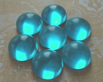 Vintage 13mm Aqua Gold Foiled Flat Back Round Glass Cabs (6 pieces)