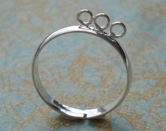 3 Silver Adjustable 3mm Ring Band with 3 Loops for Dangling Beads or Charms