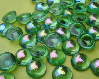 Vintage 14mm Peridot AB Fire Polished Unfoiled Round Flat Back Glass Bombe Cabs or Jewels (3 pieces)
