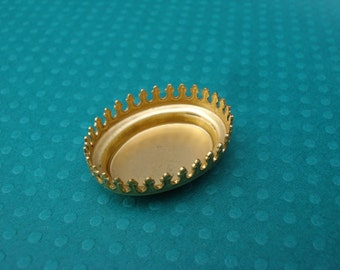 Brass 25x18mm Deep Closed Back Oval Crown Edge Prong Settings for Jewels or Cabs (3 pieces)