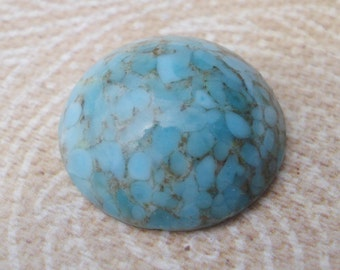 Vintage 18mm Round Turquoise Matrix Mottled Flat Back Glass Cabochons (3 pieces)