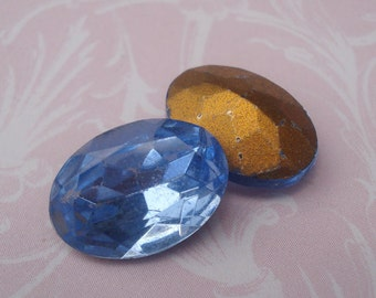 Vintage 14x10mm Light Sapphire Blue Oval Gold Foiled Pointed Back Faceted Glass Jewels (6 pieces)