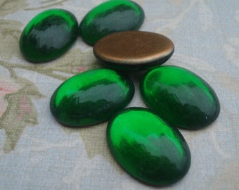 18x13mm Vintage Dark Peridot Green Gold Foiled Flat Back Oval Smooth Top Glass Cabs 6pcs