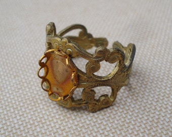 Vintage Adjustable Raw Brass Filigree Ring with 8x10mm Oval Setting (1 piece)