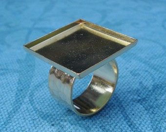 24K Gold Plated Adjustable Ring with 10mm Hammered Gold Band and 21.8 mm Square Setting w/1.9mm Side walls (1 piece)