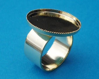 24K Gold Plated Adjustable Ring with 10mm Plain Band 20mm Round Setting with 2mm Serrated wall for a Cab or Jewel (1 piece)
