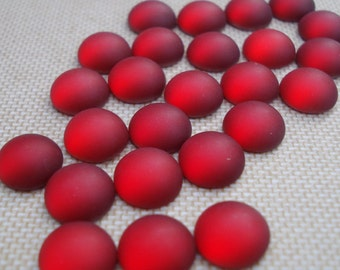 Vintage 9mm Siam Ruby Red Silver Foiled Flat Back Frosted Round Glass Cabs or Stones (6 pieces)