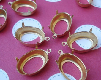 Brass 16x11mm Open Back 1 Ring 4 Prong  Oval Settings for your Jewels or Cabs (6 Pieces)